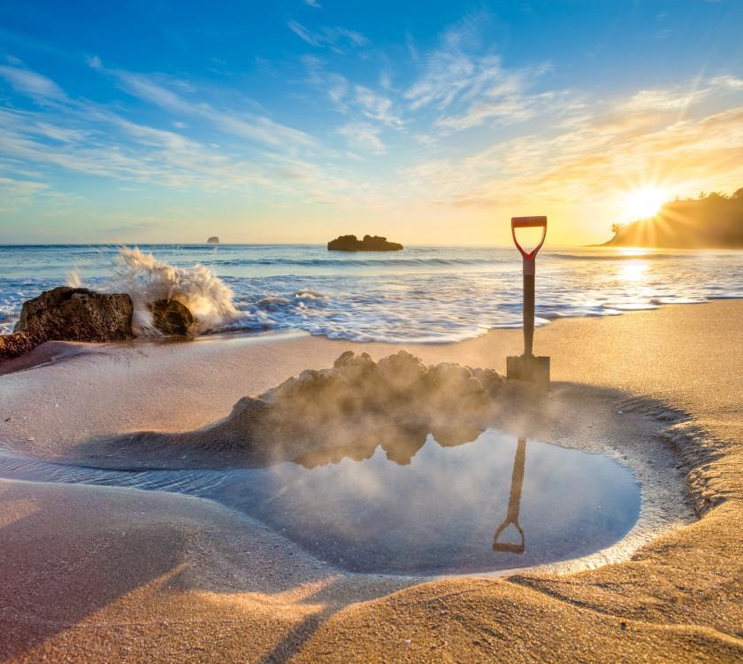 Hot Water Beach in Coromandel Peninsula on North Island in New Zealand