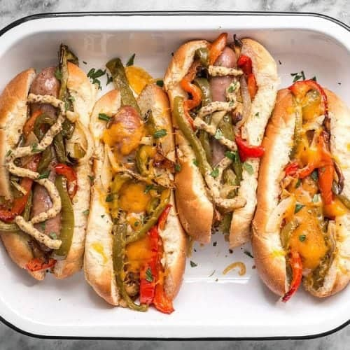 Camping Food Ideas Brats with Pepper and Onions